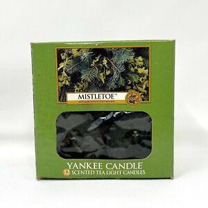 Yankee Candle Mistletoe Pack 12 Scented Tea Light Candles Burn 4-6 Hrs Vtg