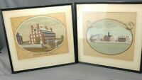 Antique Pair Silk Screen Harvard College Views Rev Jonathan Fisher 1948 Limited