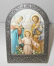 Vtg Holy Family Jesus Picture Italy Silver Tone Scroll Frame
