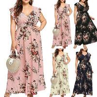 Women Plus Size Summer V Neck Floral Print Boho Sleeveless Party Maxi Dress