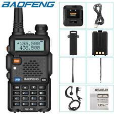 New Baofeng UV-5R VHF/UHF Dual-Band USB Two Way Ham Radio Walkie Talkie Earphone