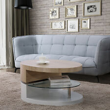 360° Rotating Coffee Table High Gloss White Base Wooden Top with Glass Shelf