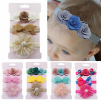 3Pcs Kids Elastic Floral Headband Hair Toddler Girls baby Bowknot Hairband Set