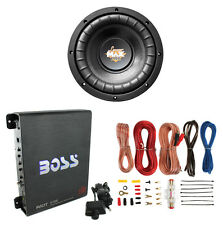 "Lanzar MAXP84 8"" 800W Power Car Subwoofer + Boss R1100M 1100W Mono Amp + Amp Kit"