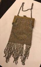 Antique Vintage Art Deco Flapper Cut Steel Micro Beaded Coin Purse Bag Fringes