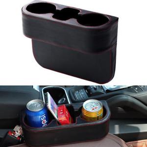 1PCS Black Car Seat Seam Dual Cup Holder Phone Mount Stand Storage Organizer