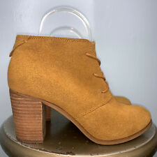 TOMS BROWN SUEDE HEELED OXFORD - SIZE 8