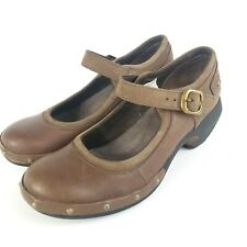 Merrell Coffee Leather Women's Clogs Shoes Studded Size 6 Brown Jane Strap Heel