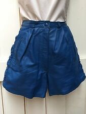 """Vintage 80s Genuine Leather Blue High Waisted Shorts Ruched 8 26"""" Waist Festival"""
