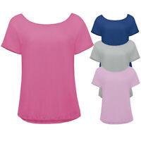 B&C Womens Short Sleeve 100% Cotton Jersey T-Shirt (2 Pack) Off Shoulder Top New