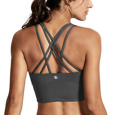 Women's Wirefree Removable Cups Medium Support Strappy Back Longline Sports Bra