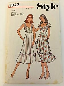 Style 1942 Misses' High Waisted Summer Dress. Size 10 Vintage. Used