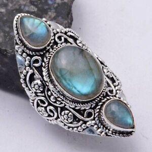 Labradorite Ethnic Handmade Ring Jewelry US Size-8 AR 41644