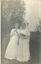 1910s RPPC Postcard Unknown US Bride & Bridesmaid Middle America Bridal Fashion