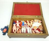 Antique Tiny Dolls in Vintage Jewelry Box Wood Bisque German Japan Resale Lot 23