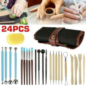 24Pcs Sculpting Tools with Pouch for Polymer Clay Pottery Ceramic Art Craft NEW