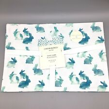x4 Cynthia Rowley Easter Bunny Placemat Set Watercolor Turquoise Blue Outdoor