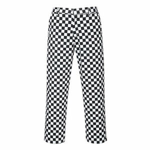 Portwest Chessboard Chefs Trousers Catering Food Industry Elasticated Waist S068