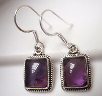 Amethyst with Fine Rope Style Accents 925 Sterling Silver Dangle Earrings