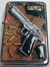 RAISED EMBLEM STAR LIGHTER GUNS COLT SMITH BERETTA 45 BULLET &EXTRA ZIPPO FLINTS