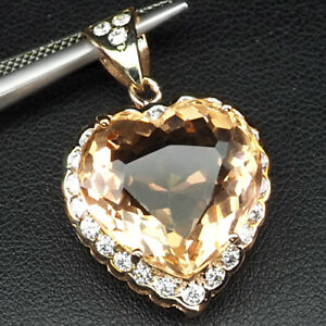 Morganite Peach Orange Heart 13.20 Ct.Sapp 925 Sterling Silver Rose Gold Pendant