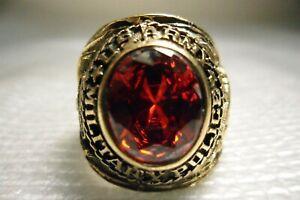 Vintage Ring US ARMY MILITARY POLICE RED Stone Vietnam War Era