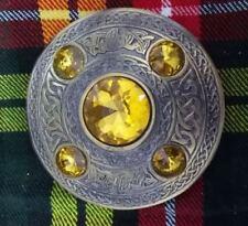 "Scottish Antique Finish Celtic Kilt Fly Plaid Brooch 5 Stone 4"" Kilt Brooche"