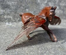 Custom Breyer Stablemate G2 Warmblood pegasus with real red canary wings CM