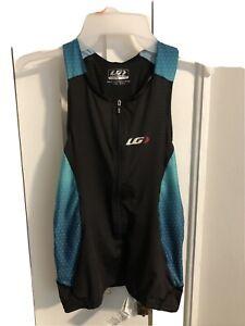 Garneau Women's Medium Pro Carbon Half Zip Tank Top Cycling Black Teal Jersey
