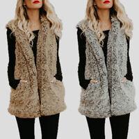 Mode Femme Manteau Fausse Fourrure Sans Manches Chaud Poche Vestes à capuche