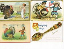 LOT of  4 ANTIQUE EARLY 1900s HOLIDAY Postcards   * THANKSGIVING *   #1017H