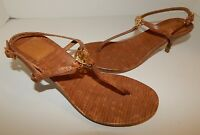New Tory Burch 7.5 Saddle Brown Strappy Reptile Embossed Leather Heels Sandals
