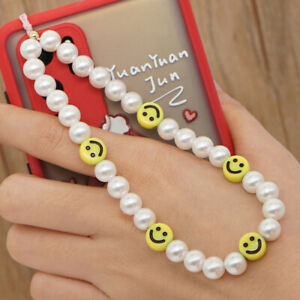 Cell Phone Lanyard Mobile Phone Straps Soft Pottery Rope Smiling Beads Chain
