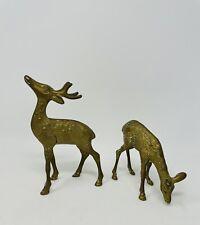 Vintage Brass Deer Figurines Buck And Doe Heavy