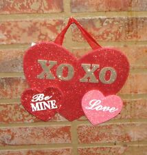 Pier 1 Imports Valentines Day Xo Xo Be Mine Love Red Glitzy Heart Wooden Plaque