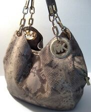 Michael Kors Snakeskin Print Genuine Leather Satchel Hobo Shoulder Purse Bag