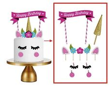 Unicorn Cake Topper. Birthday Candle Party Supplies Lolly Loot Bag Bunting Flag