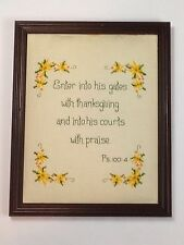Psalms 100:4 BIG Needlepoint Cross Stitch Framed Christian Art - Handcrafted