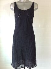 SIZE 12 BLACK CHIFFON DRESS EMBROIDERED SEQUINS GOTH WHITBY PARTY SPRING WEDDING