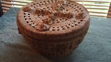 Antique Barbola Gesso Roses Wicker Basket  with Lid   10""
