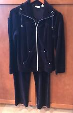 New Chico' Zenergy Velour 2 pc Outfit Jacket 0 Pants 1 Eggplant Very Pretty