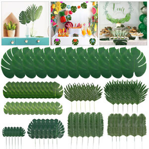 72 Fake Faux Artificial Tropical Palm Leaf Green Monstera Leaves Wedding Decor