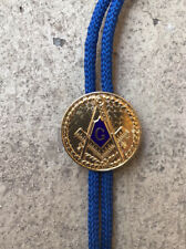 "VINTAGE Freemason Masonic Compass Blue Enamel ""G"" Gold Tone Medallion Bolo Tie"