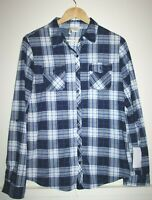 Passport Woman's Casual Blue Mix Check Long Sleeve Shirt Top Pockets Size L New