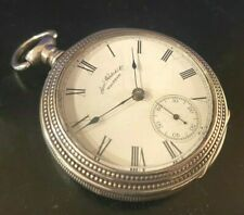 Waltham Open Face Key Wind Pocket Watch 18 size Sterling Silver Case