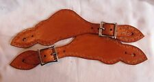 New handmade genuine saddle-tan leather spur straps western cowboy gift
