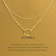 Good Luck Karma Triple Chain Layered Gold Colored18 Inch Women Chain Necklace