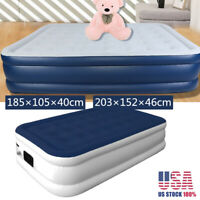 Full Size Air Mattress Air Bed Inflatable Electric Pump Fast In/Outdoor Travel