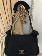 d5a873ed308430 CHANEL Black CC Shearling Hand Bag Purse Gorgeous! Gold Hardware EUC!