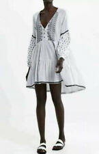 Zara White Black Embroidered Swing Dress Peasant Boho Blogger Cotton Sz Medium
